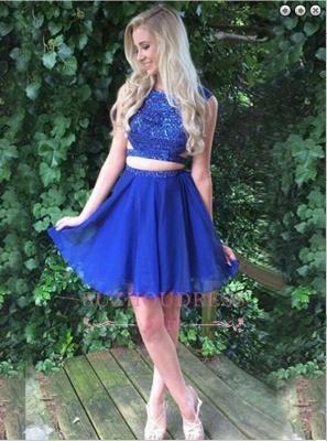 Modest Two-Piece Beading Sleeveless Short Royal-Blue Homecoming Dress BA7045_3
