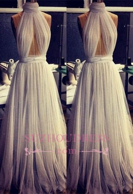 Sexy Sleeveless A-line High Neck Evening Gowns  Tulle Prom Dress_2