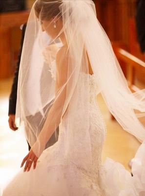 Gorgeous White Lace Church Wedding Dress Sweetheart Long Train Luxurious Bridal Dress_3