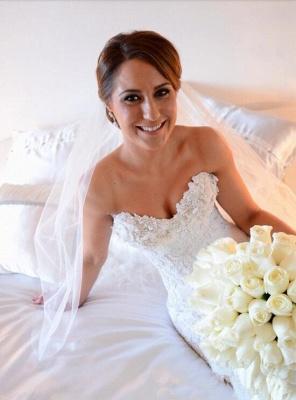 Gorgeous White Lace Church Wedding Dress Sweetheart Long Train Luxurious Bridal Dress_4