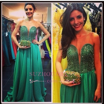 Beading A-line Sweetheart Green Train Sweep Evening Gown_1