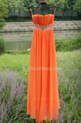 Orange Prom Gowns  Spaghetti Straps Sequined Beading Crystal Floor Length Backless Chiffon Evening Dresses_9