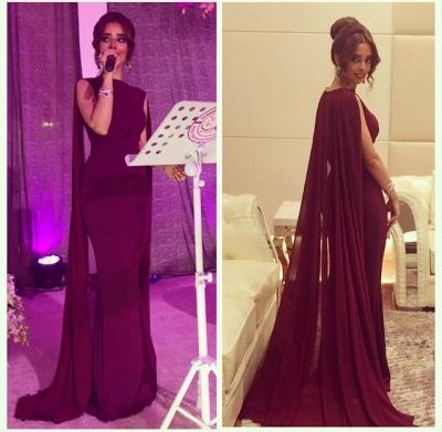 Burgundy Sheath  Formal Evening Dress Elegant Chiffon Cloak Prom Dress_2