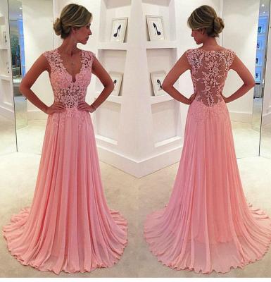 V-neck Pink  Long Prom Dresses Elegant Popular Evening Dress CE043_3