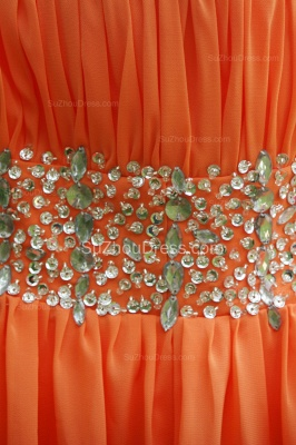Orange Prom Gowns  Spaghetti Straps Sequined Beading Crystal Floor Length Backless Chiffon Evening Dresses_2