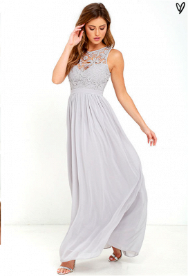 Sleeveless Chiffon Lace Summer Beach Dresses Zipper Floor Length Prom Gowns_4