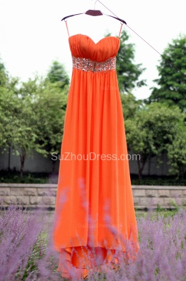 Orange Prom Gowns  Spaghetti Straps Sequined Beading Crystal Floor Length Backless Chiffon Evening Dresses_6
