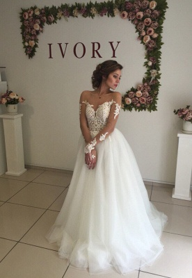 Long Sleeves Applique Tulle Wedding Dresses | Bridal Gowns Online_1