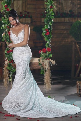 Sexy V-neck Mermaid Wedding Dresses Long  Unique Lace Ope Back Tulle Straps Bridal Gowns_3