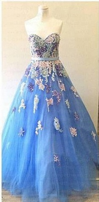 Sweetheart Colorful Lace Appliques Prom Dresses Sky Blue Evening Gowns for Princess_1