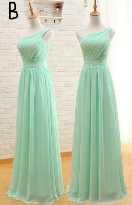 Light Green Ruffles Chiffon Long Bridesmaid Dress  Diverse Popular Dresses for Women_2