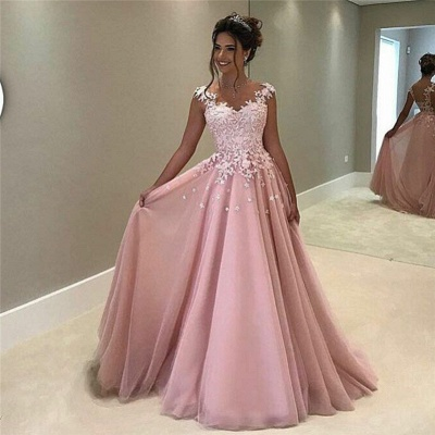 Flowers Appliques Pink Prom Dress  Sleeveless Long Evening Gown_3