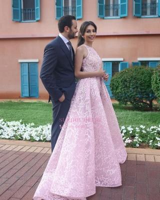Chic Halter Sleeveless Evening Dress |  Long Pink Prom Dresses_3