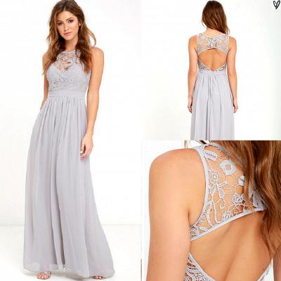 Sleeveless Chiffon Lace Summer Beach Dresses Zipper Floor Length Prom Gowns_5