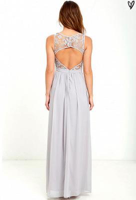 Sleeveless Chiffon Lace Summer Beach Dresses Zipper Floor Length Prom Gowns_3