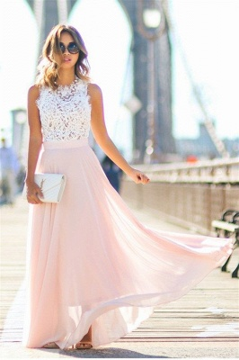 Lace Pink Chiffon  Fashion Dresses Sleeveless Long Evening Party Gowns CE0062_1