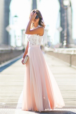 Lace Pink Chiffon  Fashion Dresses Sleeveless Long Evening Party Gowns CE0062_3