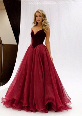 Latest Burgundy Sweetheart Formal Occasion Dresses Vintage Sweep Train  Prom Dress JT124_3