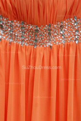 Orange Prom Gowns  Spaghetti Straps Sequined Beading Crystal Floor Length Backless Chiffon Evening Dresses_4