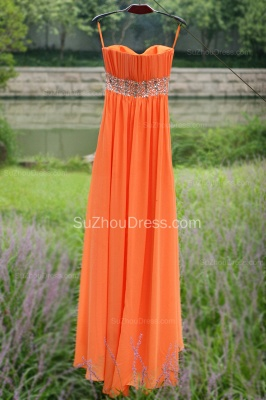 Orange Prom Gowns  Spaghetti Straps Sequined Beading Crystal Floor Length Backless Chiffon Evening Dresses_3