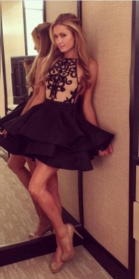Black Halter Lace Short  Homecoming Dress Cute Ruffles Mini Cocktail Dress_1