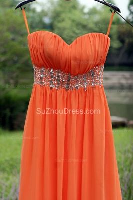 Orange Prom Gowns  Spaghetti Straps Sequined Beading Crystal Floor Length Backless Chiffon Evening Dresses_8