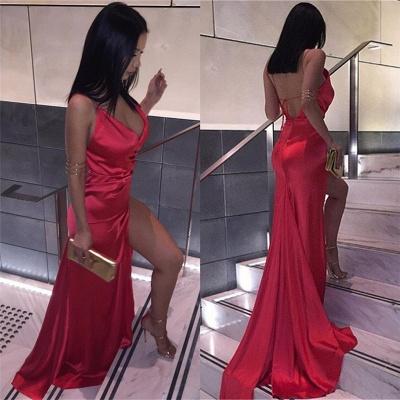 Sexy Deep V-neck Backless Formal Dresses  Long  Side Split Evening Gown_3