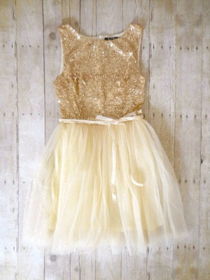 Sparkling Sequined Tulle Homecoming Dress  Cute Short Bridesmaid Dress_1