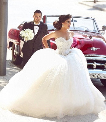Beautiful White Sweetheart Beading Long Wedding Dress Crystal Tulle Plus Size Bridal Gowns_2