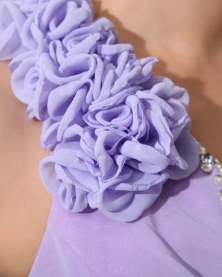 Lavender Chiffon Hi-lo Cocktail Dresses V Neck Sleeveless Flowers Cascading Ruffles Charming Homecoming Gowns_4