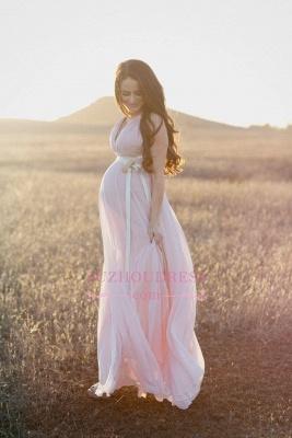 Modest Chiffon Long V-neck Sleeveless A-line Maernity Pink Prom Dress_4