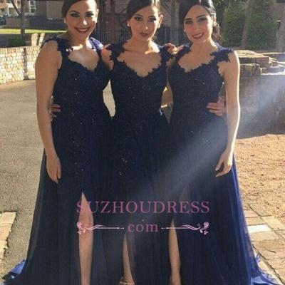 Side-Slit Lace-Appliques Navy-Blue A-line Chiffon Bridesmaid Dresses BA4993_1
