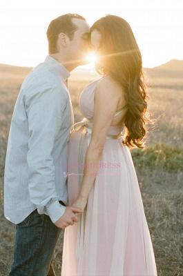 Modest Chiffon Long V-neck Sleeveless A-line Maernity Pink Prom Dress_3