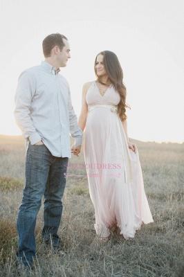 Modest Chiffon Long V-neck Sleeveless A-line Maernity Pink Prom Dress_1