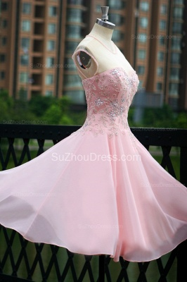 Elegant Pink Prom Dresses Jewel Sequined Crystal Beading Knee Length  Zipper Chiffon Evening Gowns_6