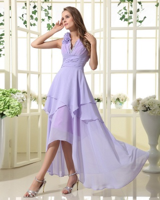 Lavender Chiffon Hi-lo Cocktail Dresses V Neck Sleeveless Flowers Cascading Ruffles Charming Homecoming Gowns_5