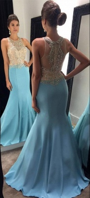 Mermaid Blue Sleeveless Crystals Evening Gowns Beaded Sexy  Prom Dresses BA7933_3