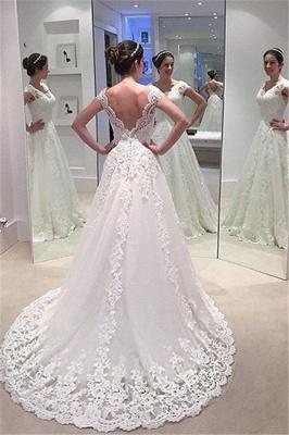 Elegant A-line Lace Bride Dress  V-neck Open Back Long Train Wedding Dress_1