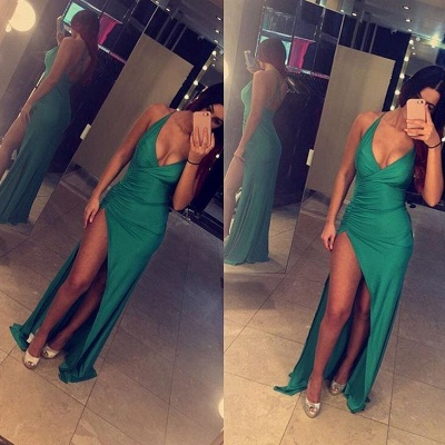 Sexy Slinky Evening Gowns Deep V-neck Open Back Latest Maxi Dresses with Split BA3112_3
