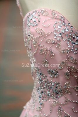 Elegant Pink Prom Dresses Jewel Sequined Crystal Beading Knee Length  Zipper Chiffon Evening Gowns_9