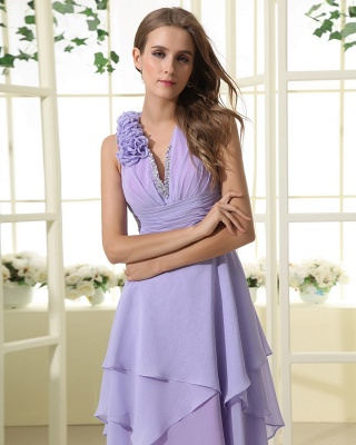 Lavender Chiffon Hi-lo Cocktail Dresses V Neck Sleeveless Flowers Cascading Ruffles Charming Homecoming Gowns_2
