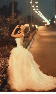 Spaghetti Strap White Sexy Mermaid Bridal Gown  New Arrival Lace Detachable Train Wedding Dress_2