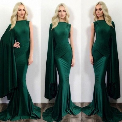 Simple Mermaid Green One Shoulder Evening Dress Latest Ruffles Formal Occasion Dresses_3