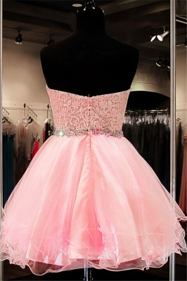Pink Puffy Organza Sweetheart  Homecoming Dress with Crystal Belt School Dancing Party Dress_2