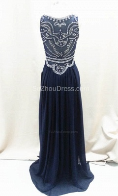 Sexy Dark Navy Sleeveless Prom Dresses A-Line Floor Length Evening Dresses with Beadings_3
