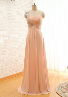 Latest One Shoulder Chiffon Long Prom Dress with Beadings Elegant Crystal Ruffles Plus Size Evening Dress_2