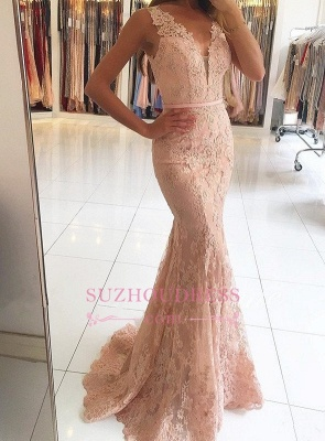 Mermaid Pink Lace Formal Dress   Sexy Long Evening Dresses BA6398_4