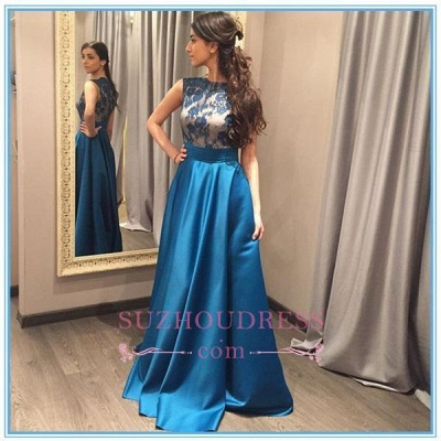 Blue Glamorous Zipper A-Line Sleeveless Appliques Prom Dress_1