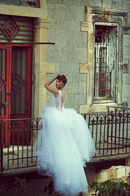 Spaghetti Strap White Sexy Mermaid Bridal Gown  New Arrival Lace Detachable Train Wedding Dress_3