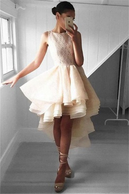 Champagne Lace Hi-Lo Homecoming Dresses 2019   Sleeveless Tiered  Hoco Dresses_1